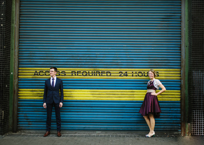Bride and Groom at front of Drury Buildings restaurant in Dublin