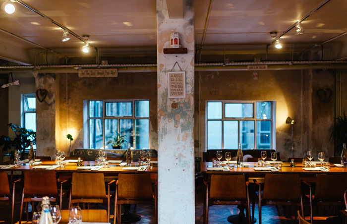 inside industrial wedding venue in dublin city