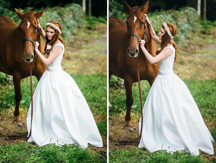 sligo,wedding,north west ireland,bride with horse