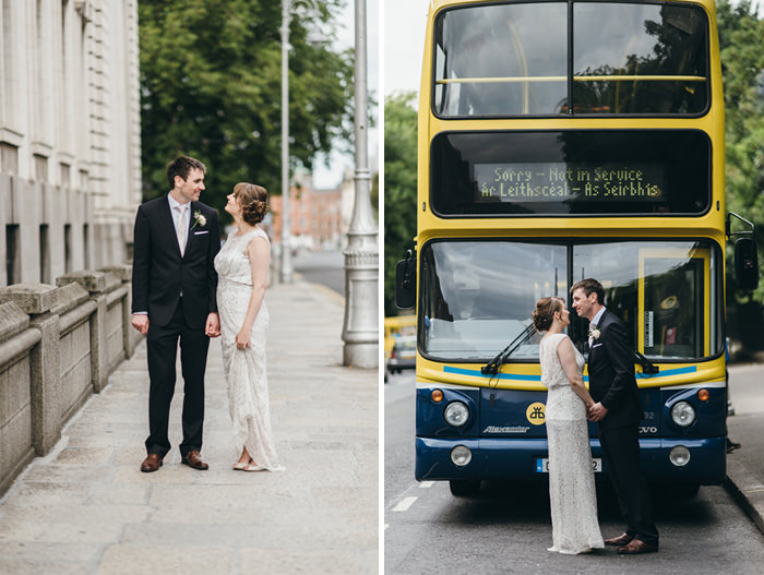 couples at front of irish bus in dublin