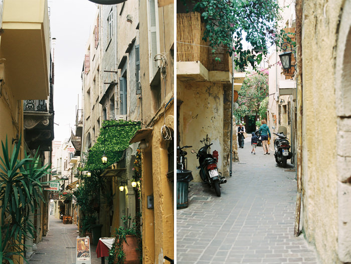 small streets in old venetian port in chania