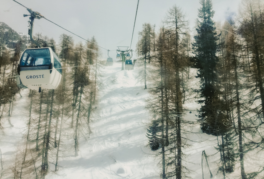 Italy Skiing in alps,dolomites ,groste lift