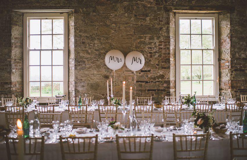 table set for wedding in Borris House