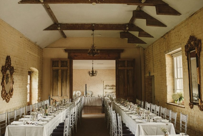 old barn style dinning room in Loughcrew House
