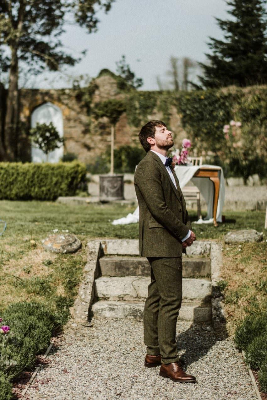 outdoor ceremony , groom,garden ceremony,horetown house