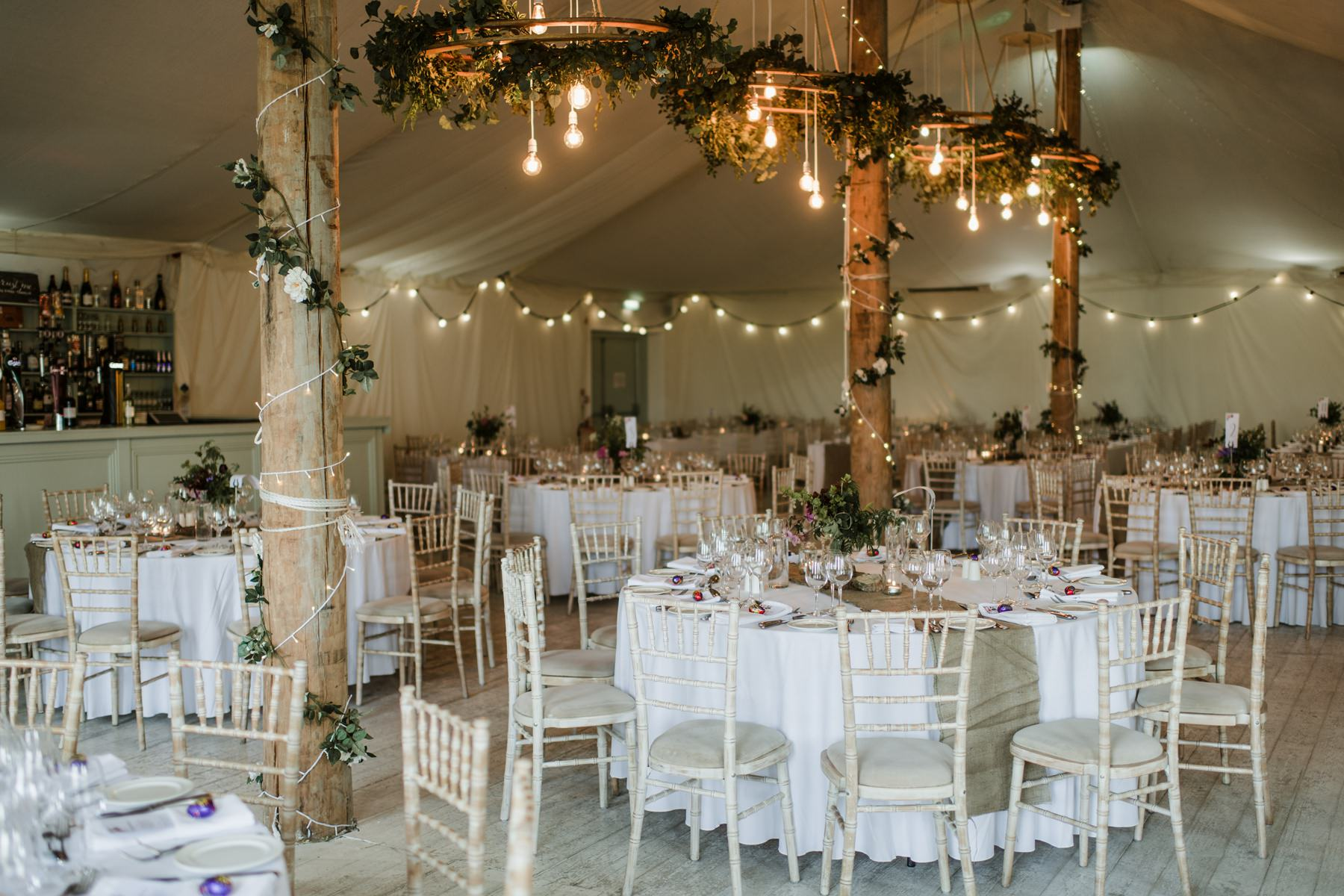 decorated wedding function room in Horetown House