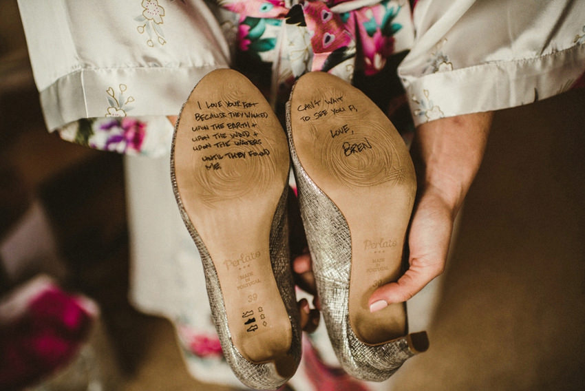 country house wedding hometown, wedding shoes with sign