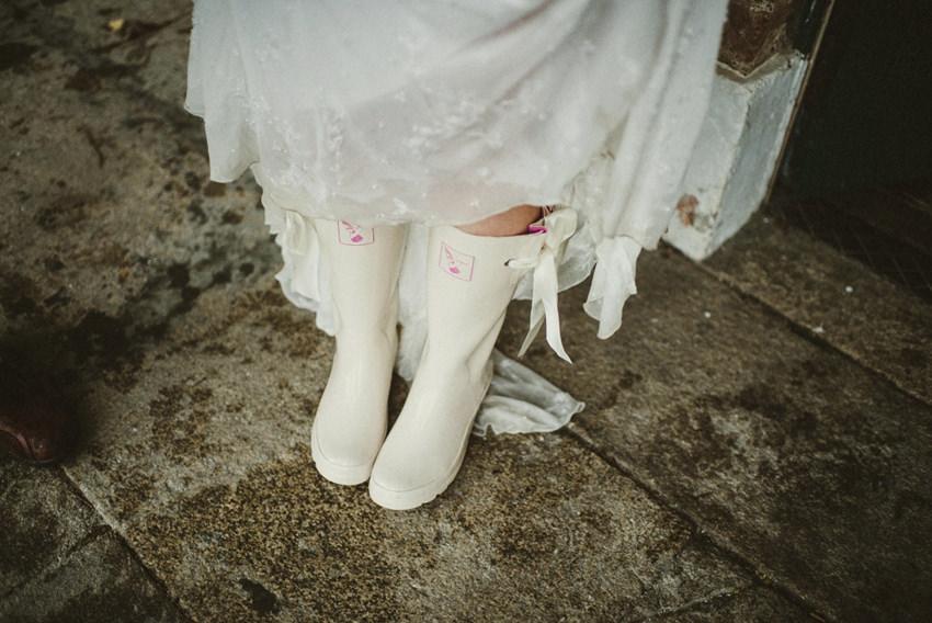 bride wedding wellies