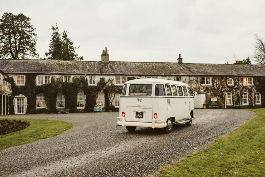 wedding car arriving to venue in Wicklow ,Ireland