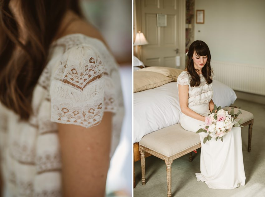 Bride before ceremony in her lace boho dress