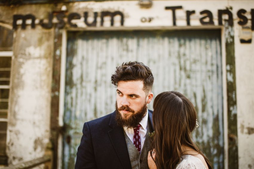 The Millhouse wedding photos of bride in white lace dress and groom with modern hair and beard co.meats Slane, Ireland