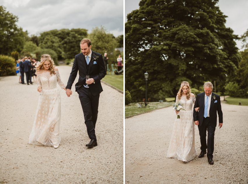 couples on their walk to beach for photos on their wedding day