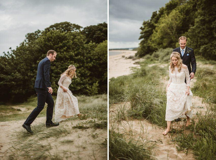 walking on dunes , photoshoot for wedding in donegal,ireland