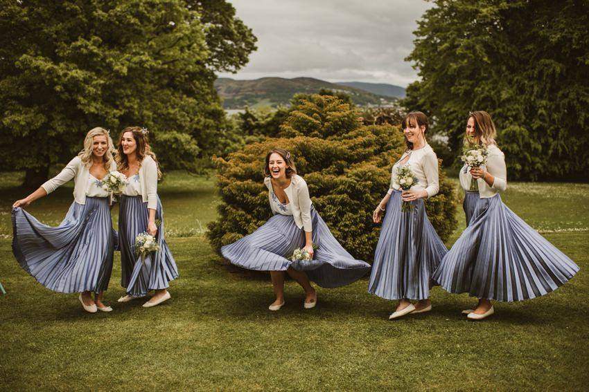 unny moment with bridesmaids in lilac colour dresses ,two parts bridesmaid dress