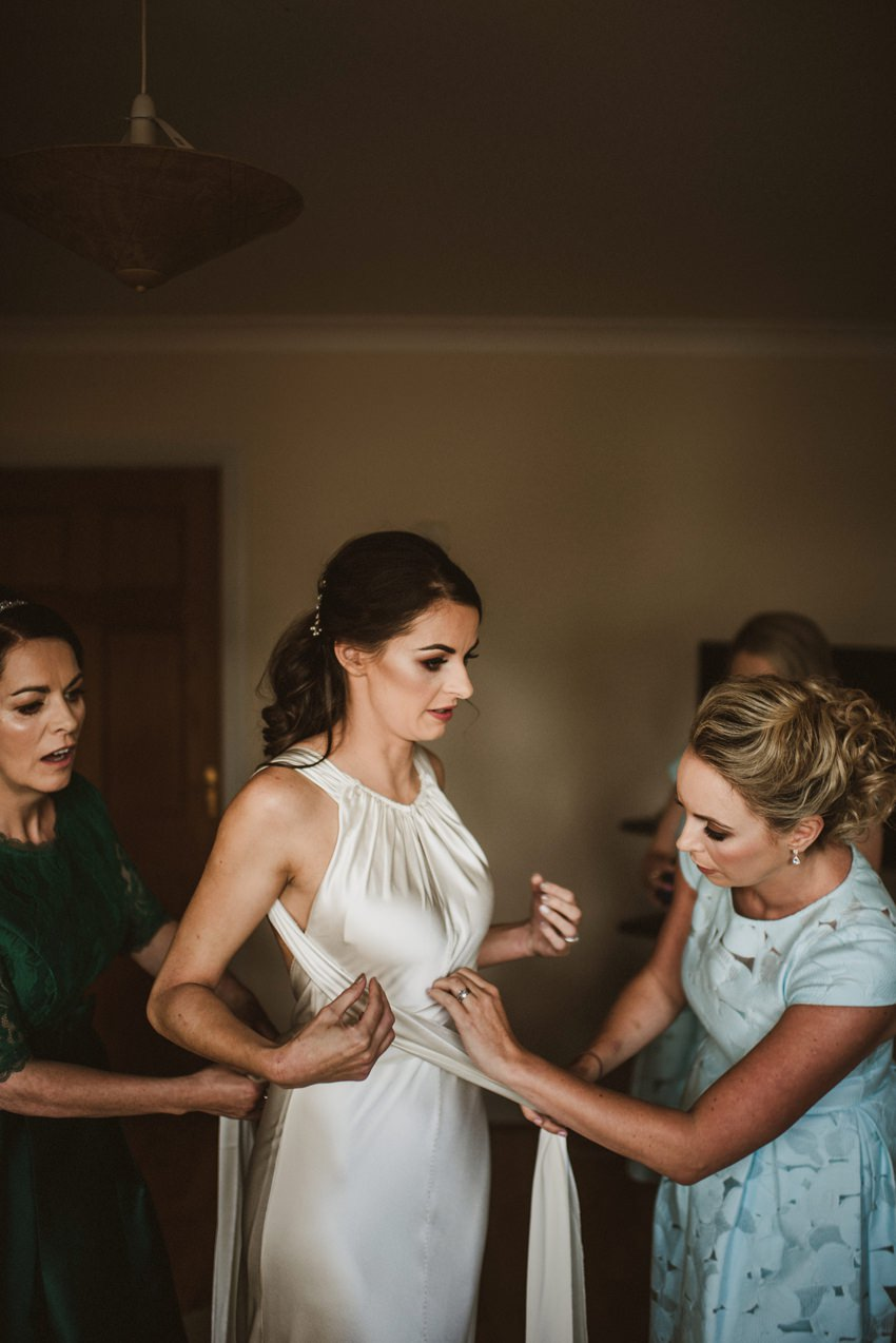 bride getting ready for her outdoor wedding Sligo
