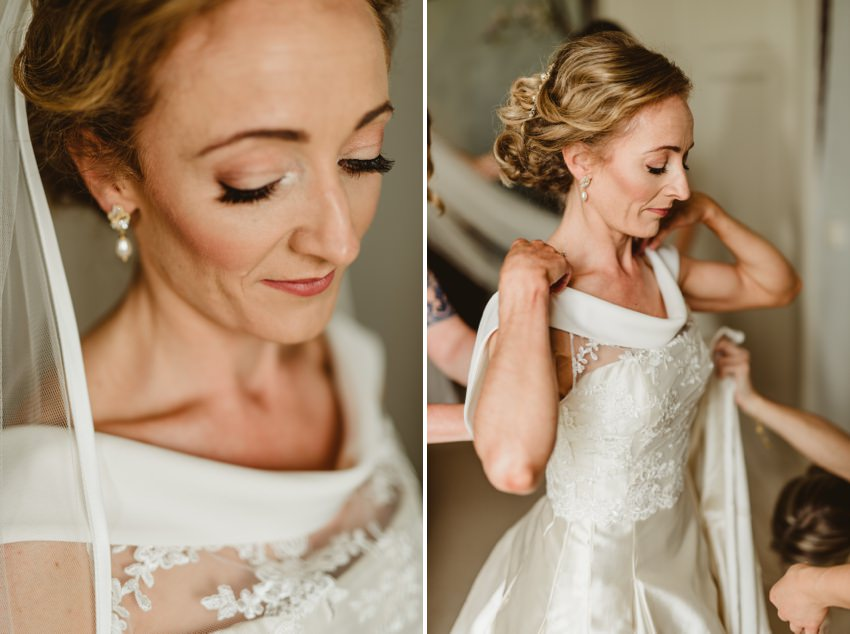 elegant white dress on Irish bride