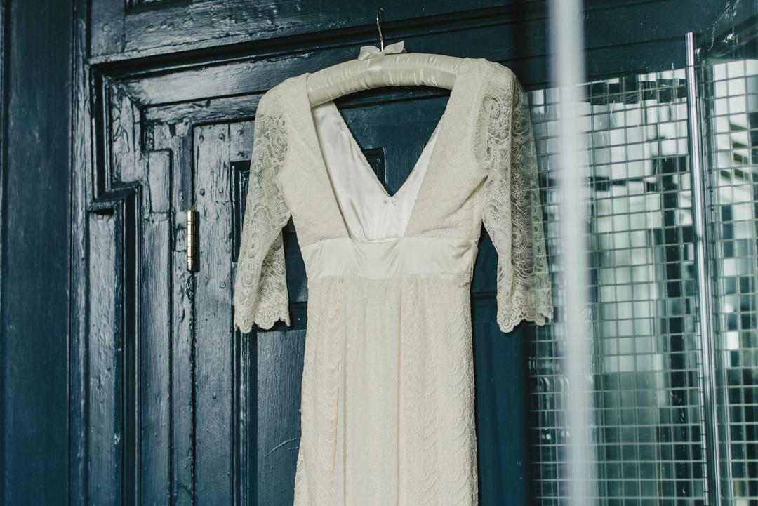 wedding dress hanging in brodal suite in bellinter House