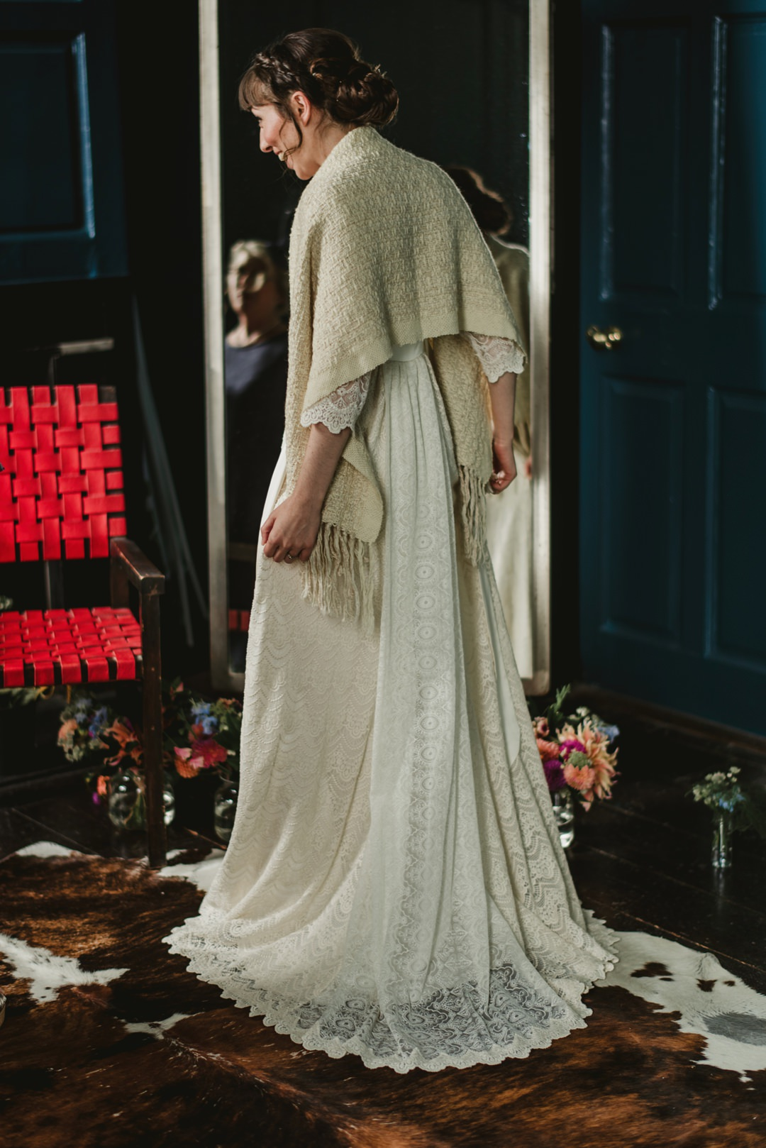 bellinter house bride in bathroom at front of big mirror