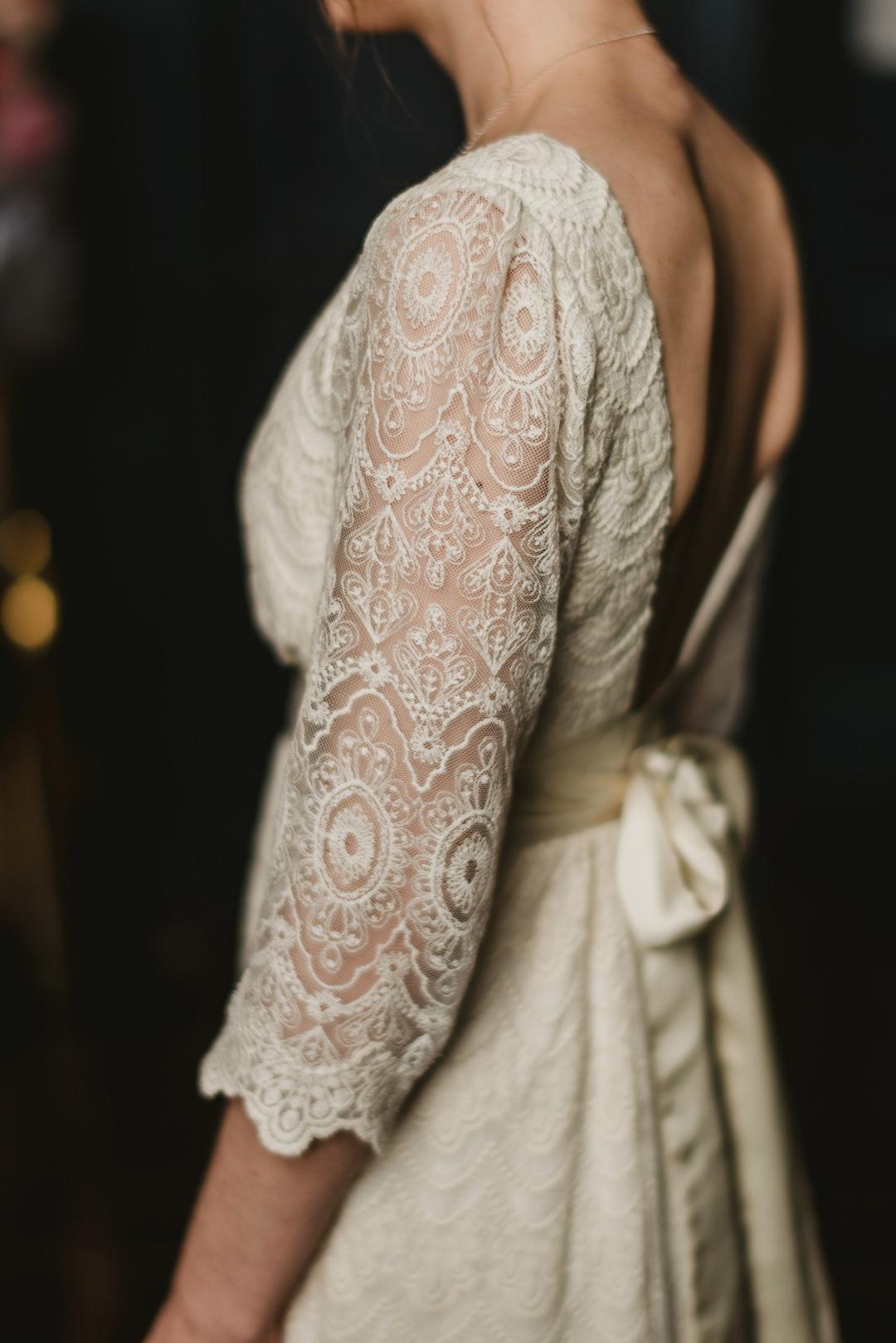back of detailed wedding dress