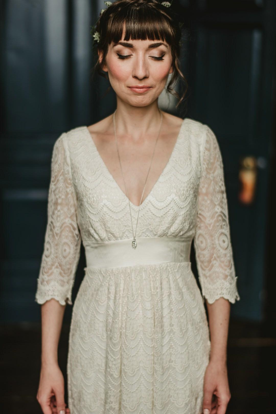 wedding dress details front