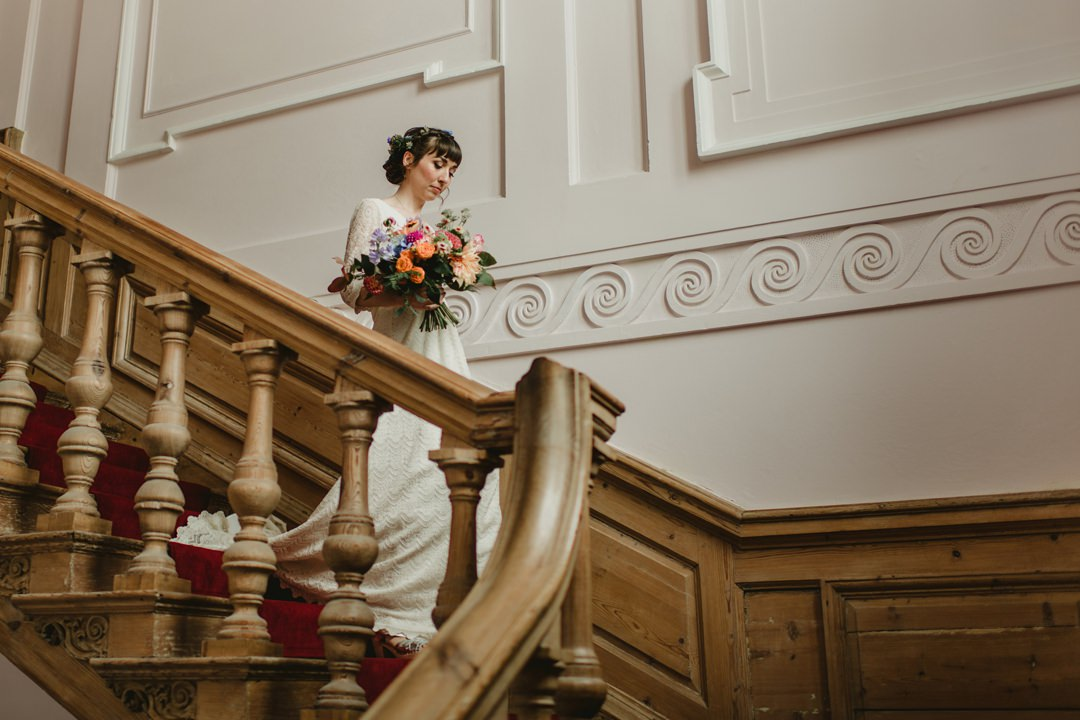 bride walk dow the main inside stairs in bellinter
