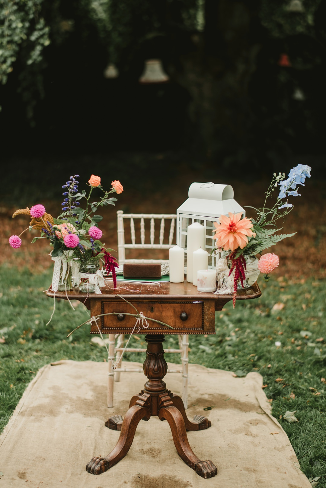 small table set for an outdoor ceremony under big tree in bellinter