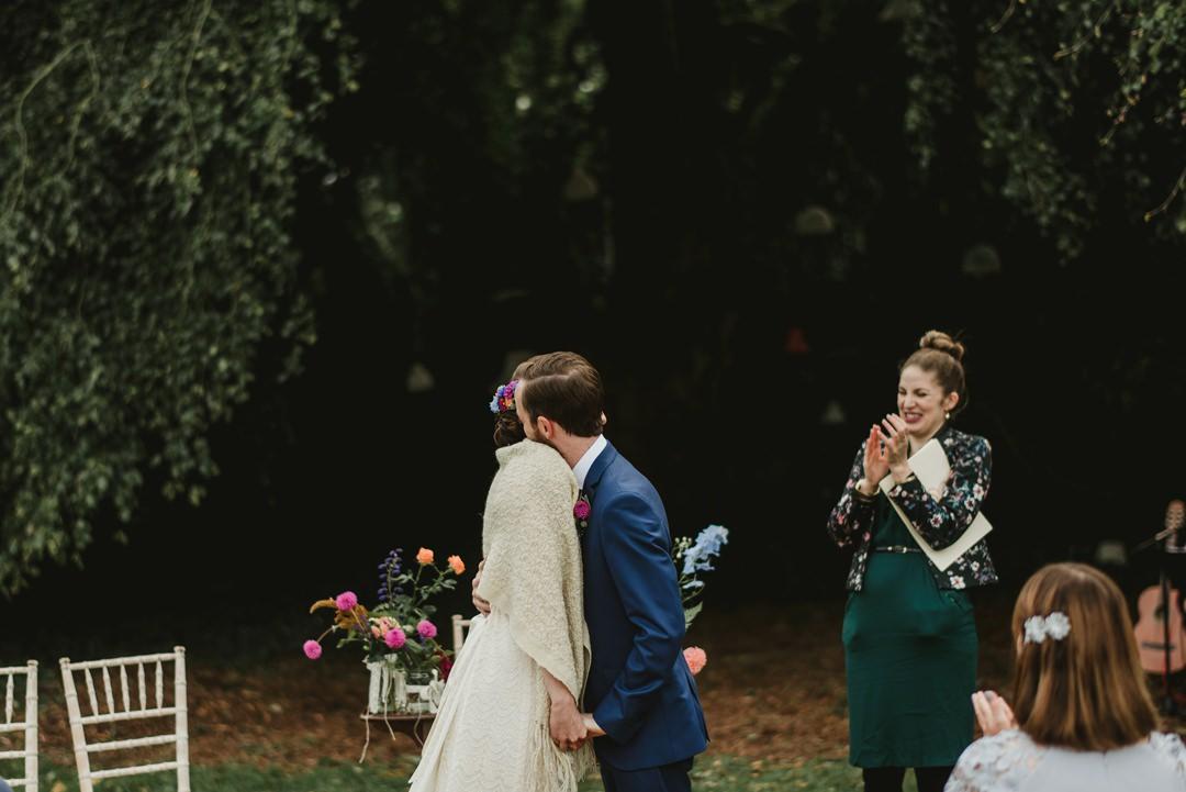 first kiss at belinter house wedding