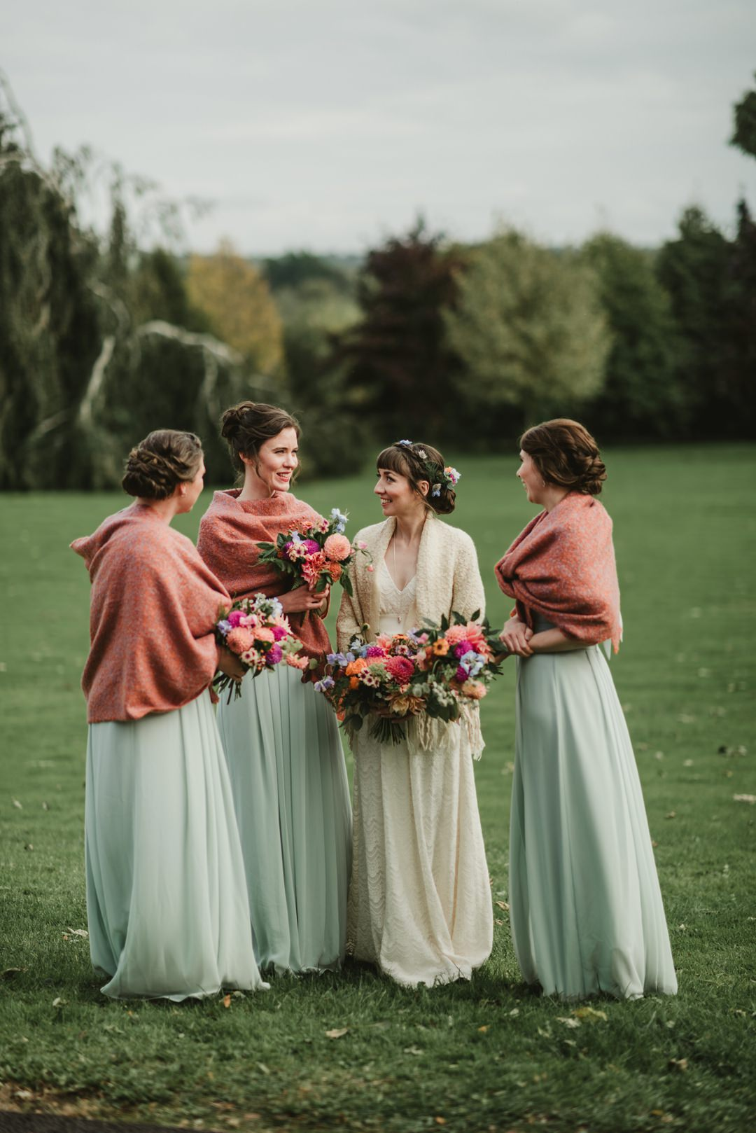bride and bridesmaids at bellinter house front lawn