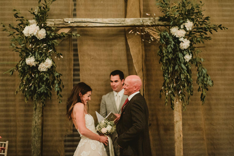 couples first kis at garden wedding
