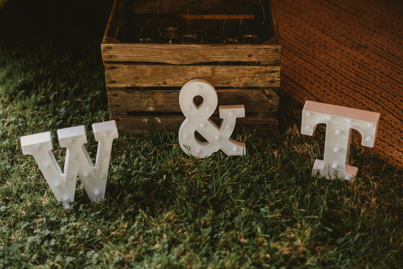 rustic decoration at garden wedding