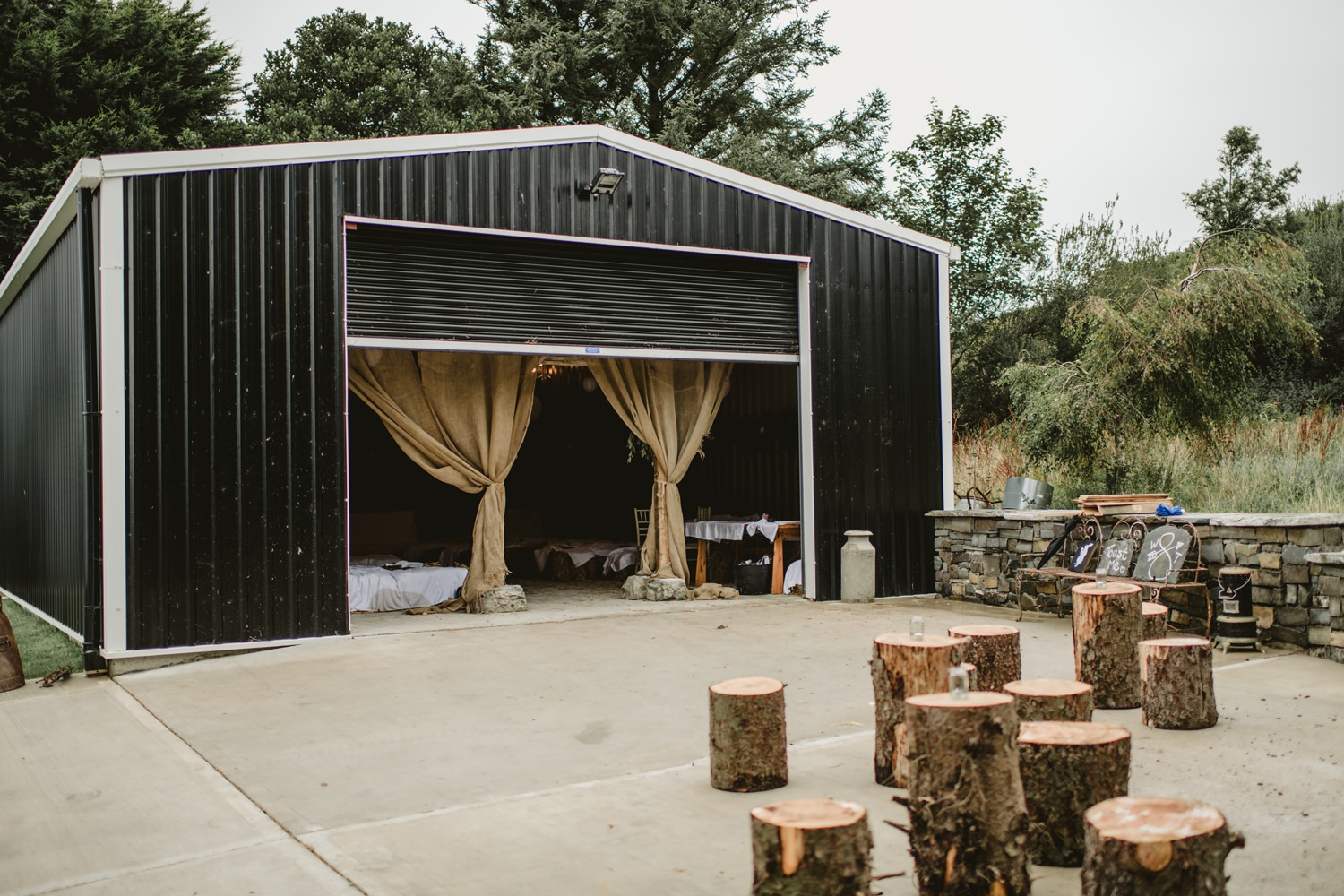 ceremony in garden tin shed