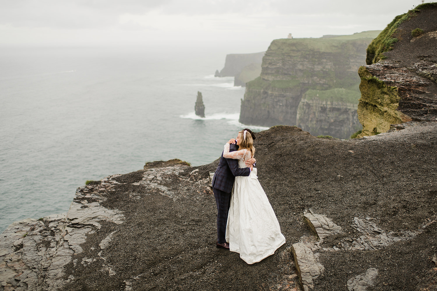 Picture of wedding Couple at guerin's path ,Cliff of Mohers in background