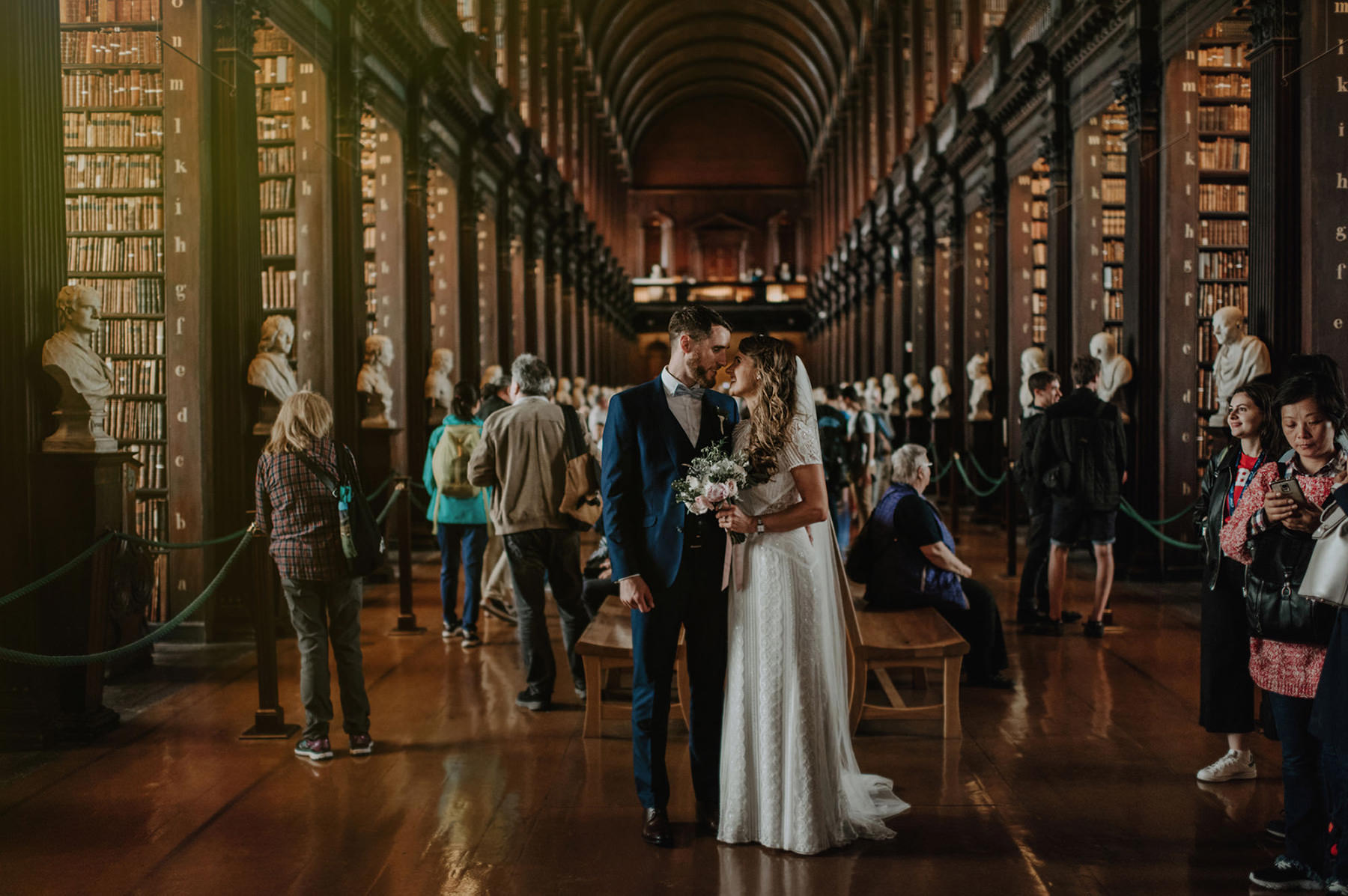 Wedding ceremony in Trinity College. Main entrance to trinity Chapel
