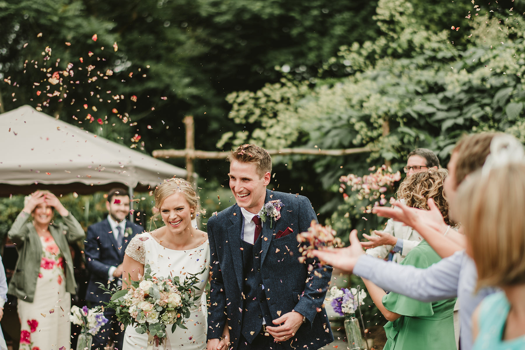 confetti throw at outdoor wedding ceremony in Ireland