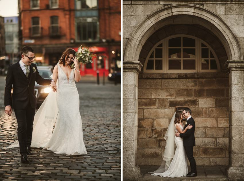 bride and groom at dublin castle