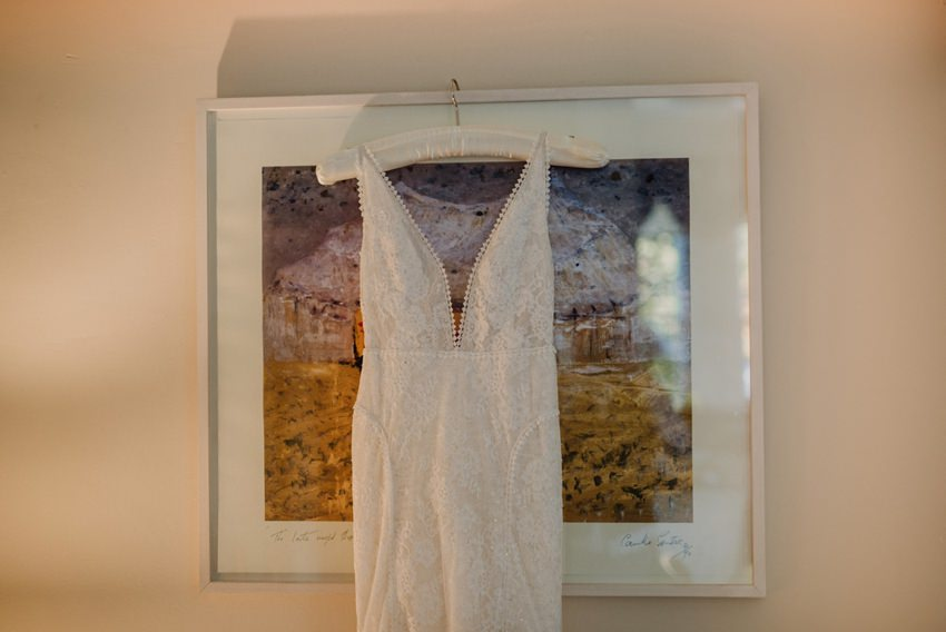 wedding dress hang on art piece
