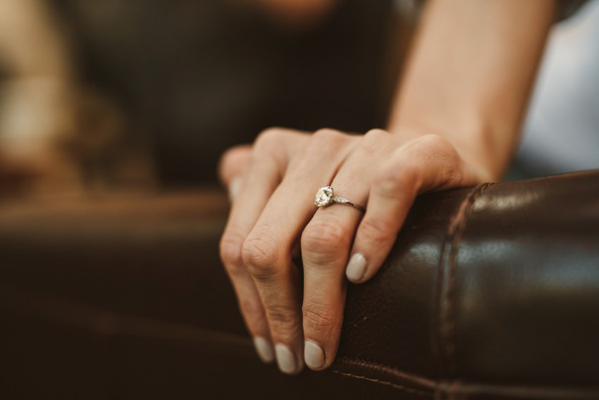 engagement ring  on bride hand
