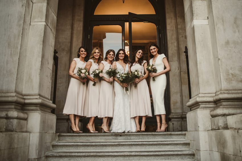 bridal party at front of Dublin City Hall