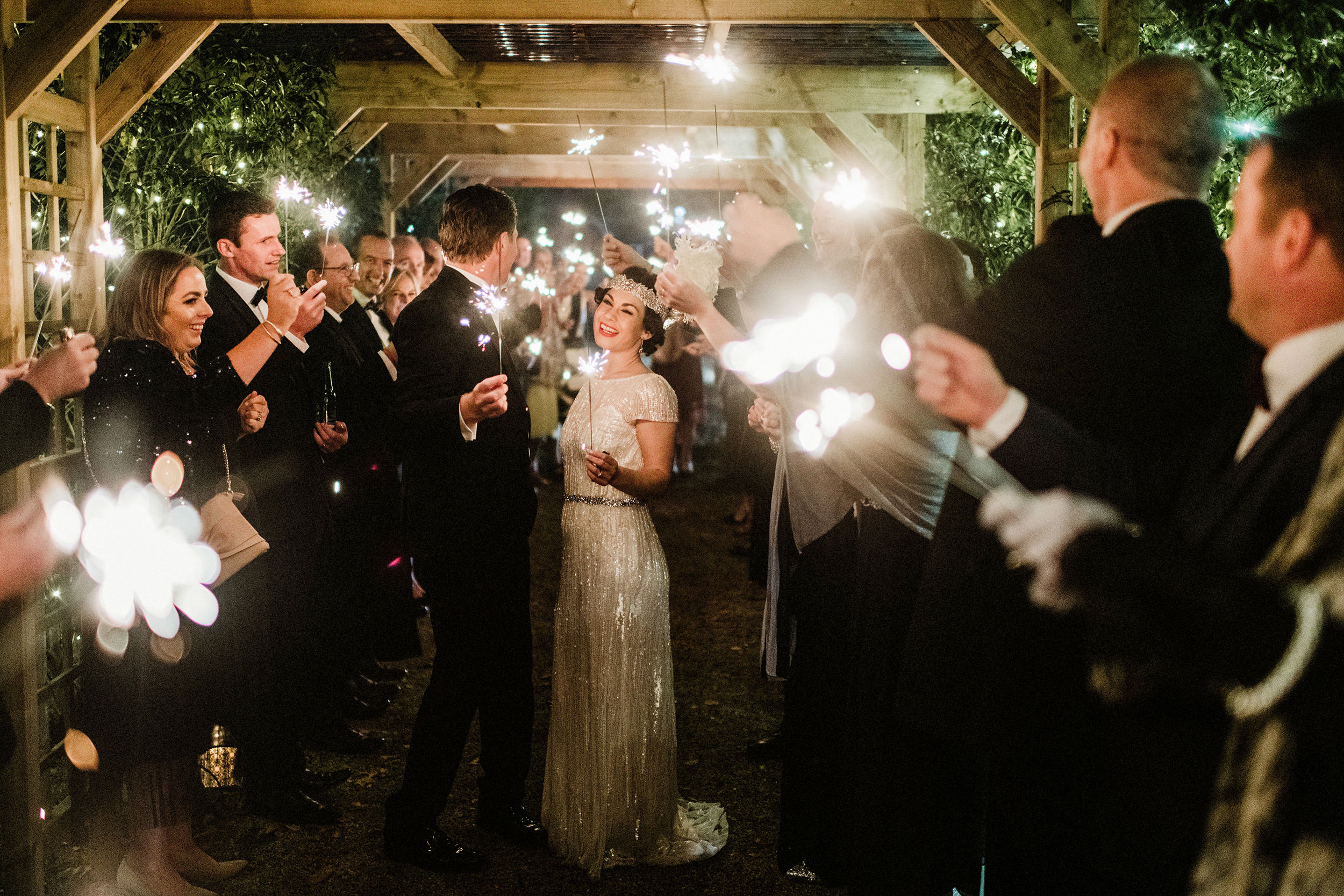 spectacular fireworks with bride and groom in Tinakily Country House