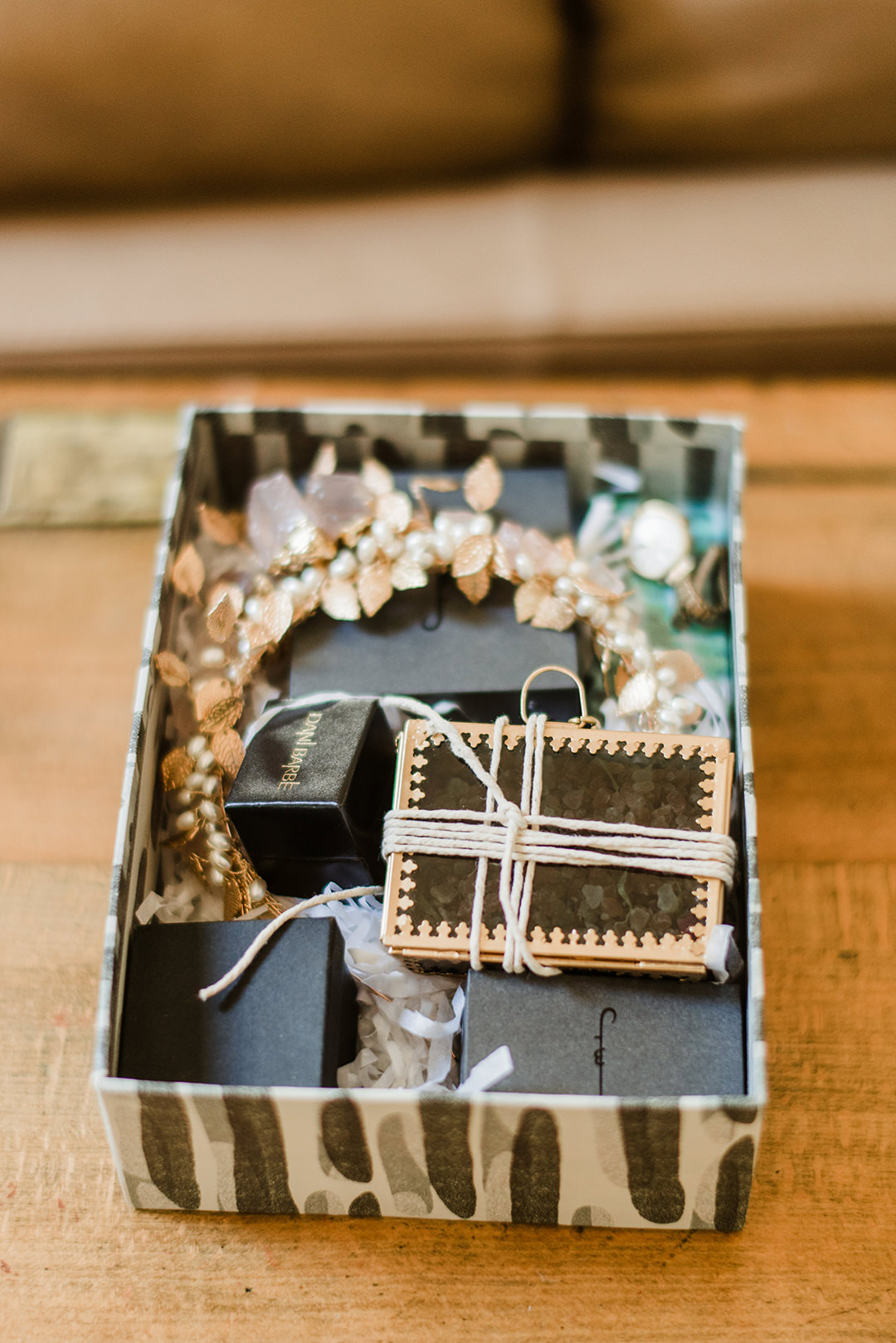 box with wedding accessories