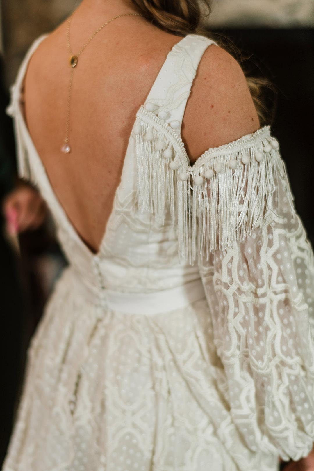 back of boho wedding dress