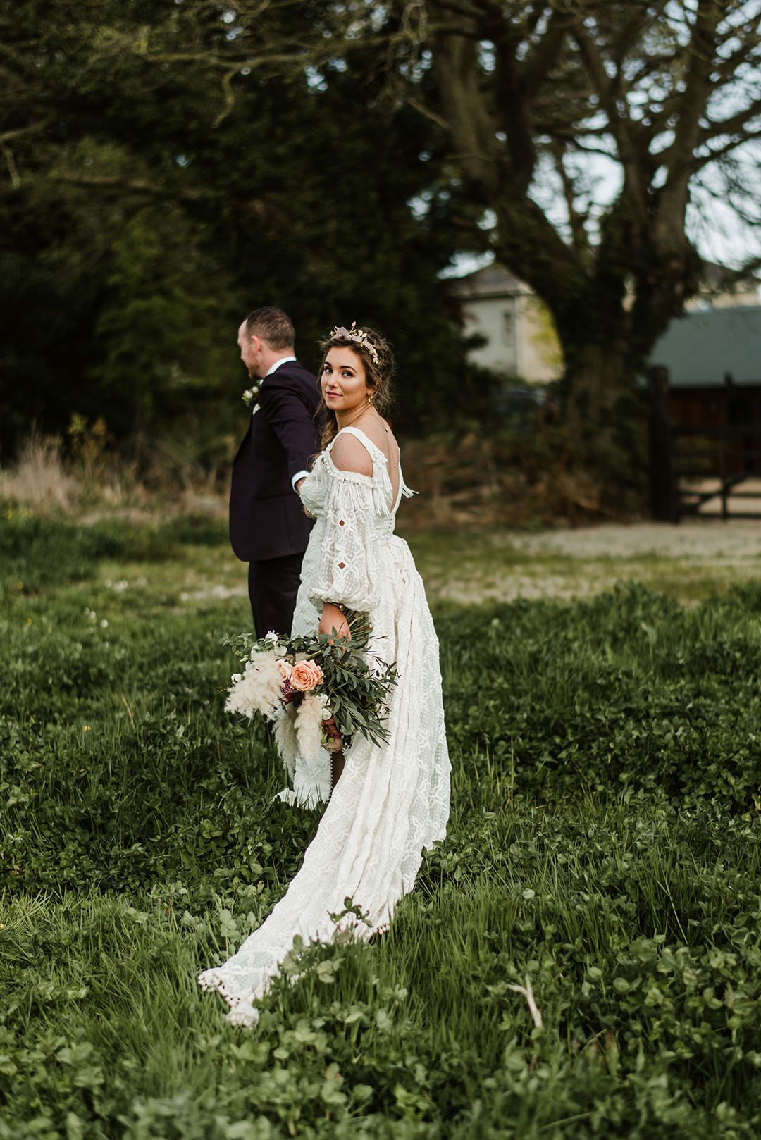 bride in boho dress