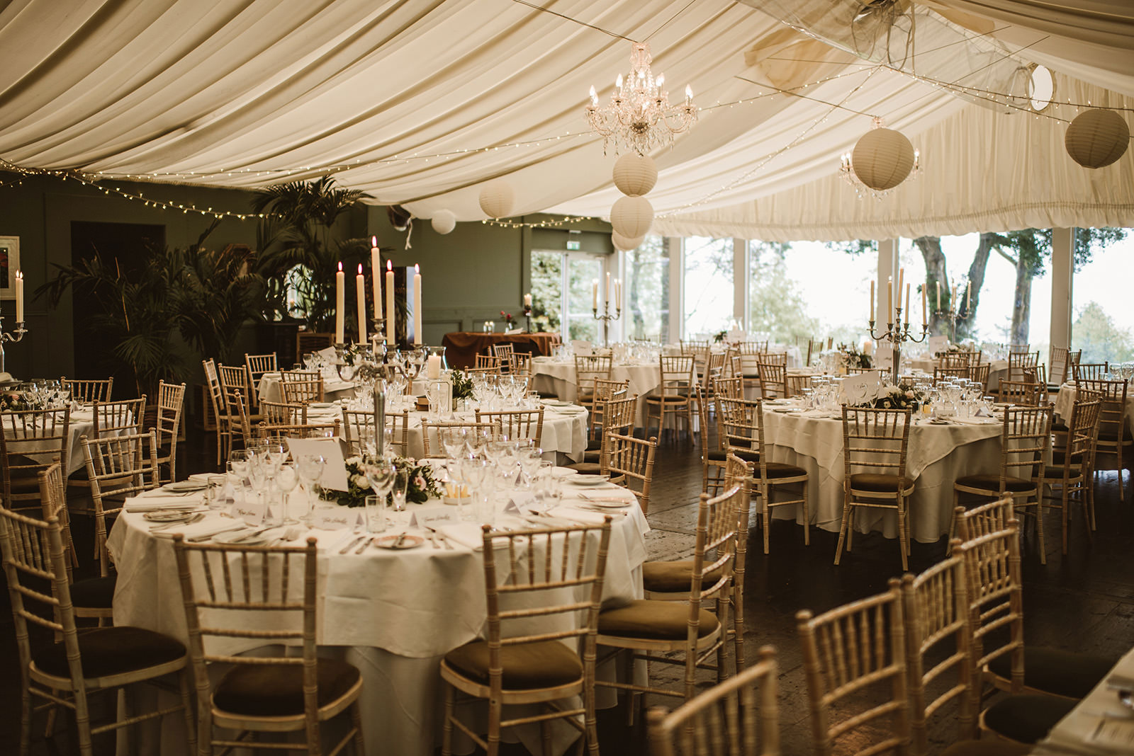 wedding tables layout set inside marque