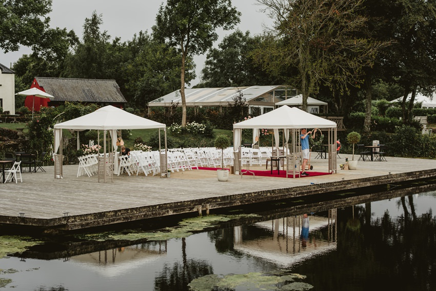 ceremony tent set on jetty in Coolbawn quay