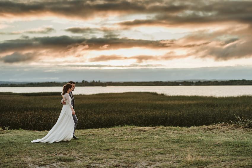 wedding couples at lough derg sunset