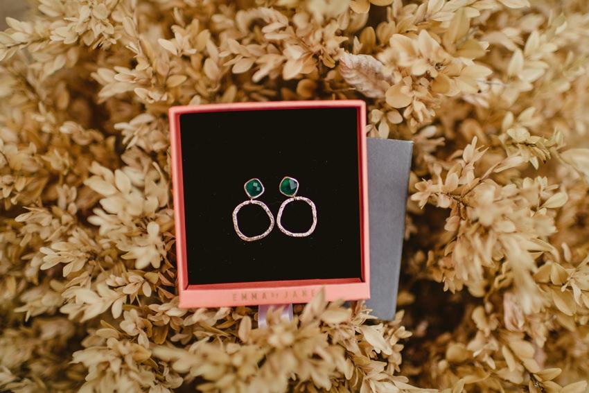 wedding earrings in pink box